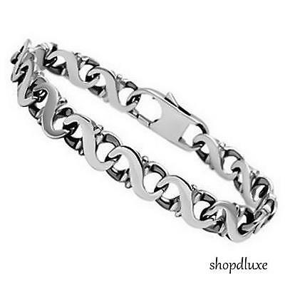 "MEN'S 10MM WIDE SILVER STAINLESS STEEL 316L CHAIN LINK 8.25"" FASHION BRACELET"