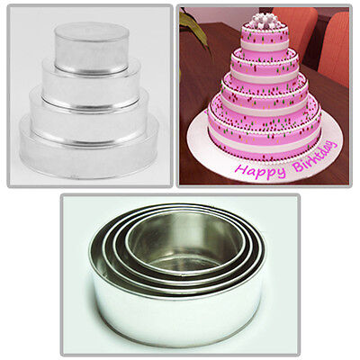 "4 TIER HEAVY DUTY ROUND CHRISTMAS CAKE TINS 6""8""10""12"""
