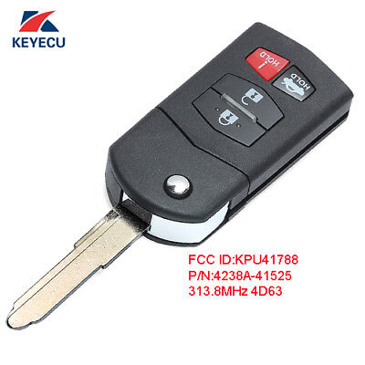 Flip Remote Key Fob 4 Button for Mazda 6 Sedan & RX-8 2004-2011 Fcc# KPU41788