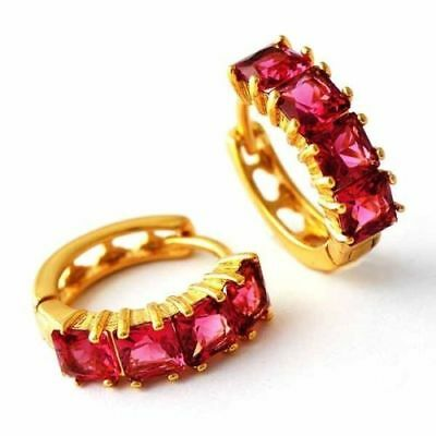 Beautiful New Yellow Gold Filled 4 Stone Ruby Red CZ Round Huggie Hoop Earrings