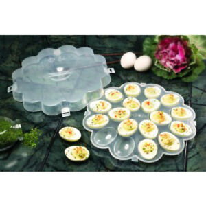 New Devilled Egg Server Set Of 2 Sturdy Plastic With Clip On Lid