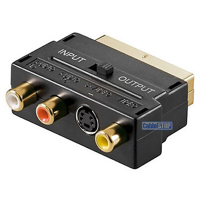 SCART to 3 RCA PHONO AUDIO & COMPOSITE VIDEO & 4 pin S-VIDEO SVHS AV TV ADAPTER for sale  Shipping to Ireland
