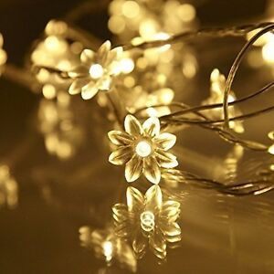 Battery Operated Warm White 20 Flower Petal LED Flowers Fairy String Lights Lamp