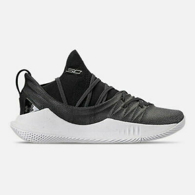 Under Amour Youth GS CURRY 5 Basketball Shoes Size 6.5 Black/White 3020741-101