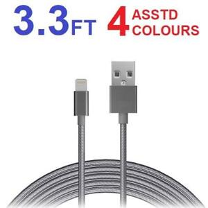 4 NEW ASSTD LIGHTNING TO USB CABLES 205146087 ASSORTED COLOURS 1m CABLE 3.3 FT CHARGING IPHONE IPOD IPAD