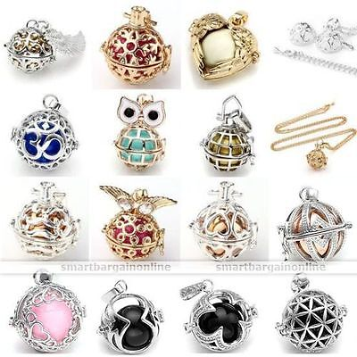 Bell Ball Cage Harmony Pregnancy Baby Angel Caller Pendant Chain Necklace-AD (Angel Bell Necklace)