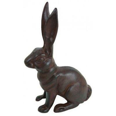 HomeOffice Cast Iron Sitting Bunny Rabbit Garden Statue Patio Yard Large Iron Yard Garden