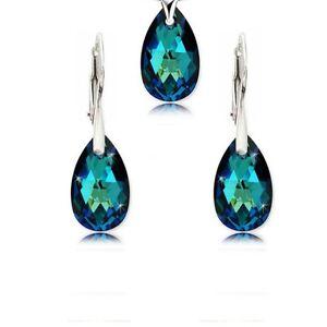 Swarovski Elements & 925 Silver Earrings Pendant Necklace Set Bermuda Blue