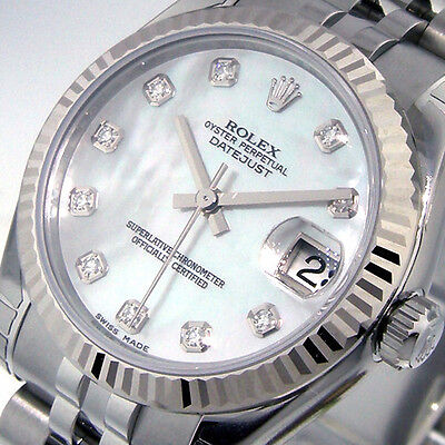 ROLEX 178274 DATEJUST 31 mm MID SIZE STEEL WHITE MOTHER OF PEARL DIAMOND