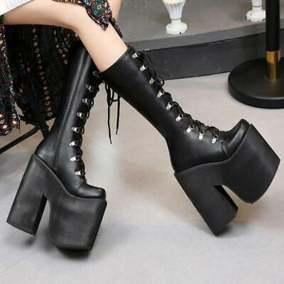 Women Super 17cm High Heel Platform Punk Gothic Zipper Over Knee High Boots Club