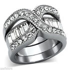 Stainless Steel Crystal Engagement & Wedding Ring Sets