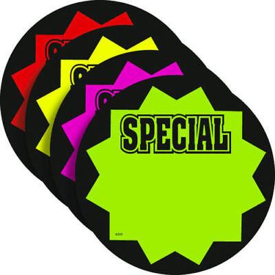 100 Special 5 Round Fluorescent Burst Neon Retail Sale Signs Cards 25 Ea Color
