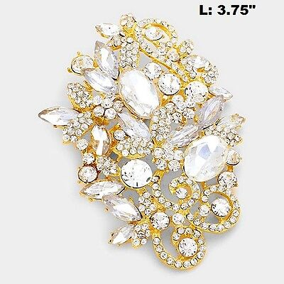 "3.75"" Long Gold Tone Clear Rhinestone Brooch Pin"