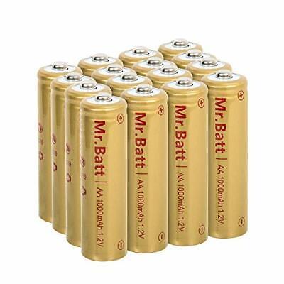 Mr.Batt NiCD AA Rechargeable Batteries for Solar Lights 1.2V 1000mA 16 Pack Rechargeable Batt Pack