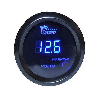 """HOTSYSTEM Black  2"""" 52mm Blue Digital LED Electronic Volt Gauge Meter For Car"""