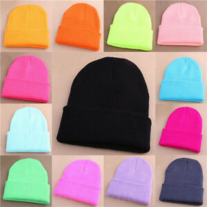Mens-Women-Beanie-Knit-Ski-Cap-Hip-Hop-Blank-Color-Winter-Warm-Unisex-Wool-Hat