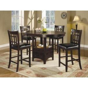 Coaster 5 Piece Counter Table and Chair Set (102888) in Warm Brown or Cappuccino Finish