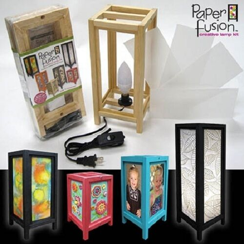 PAPER-FUSION-Creative-Lamp-Craft-Kit-LED-Bulb-5-in-x-8-in-BLACK-WOOD