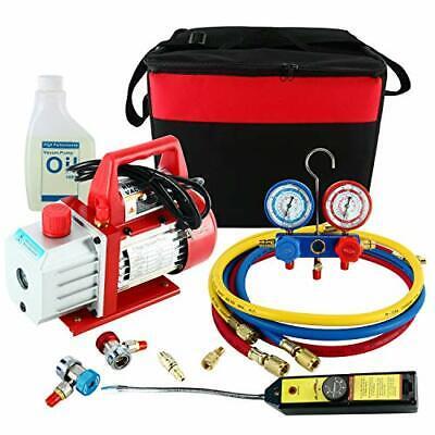 4CFM 1/3HP Vacuum Pump HVAC Refrigeration Kit AC Manifold Gauge Leak Detector