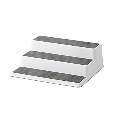 Non-Skid 3-Tier Spice Pantry Kitchen Cabinet Organizer 10-Inch White/Gray