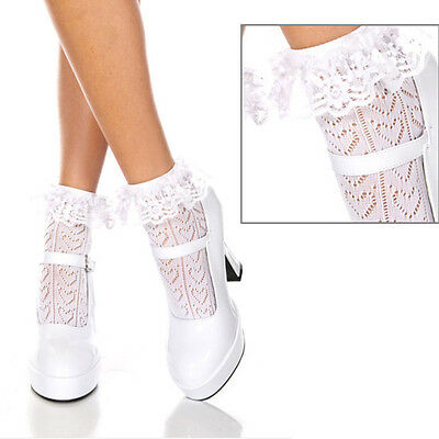 Frilly Trim (3 Set Frilly Ruffled Lace Trim Ankle Hi Heart Net Socks Anklet Retro Pin-Up Girl )