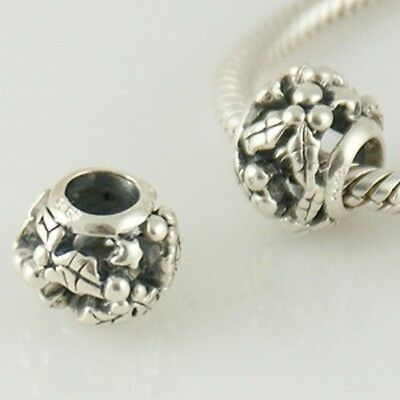 CHRISTMAS HOLLY leaves - Solid 925 sterling silver European charm bead