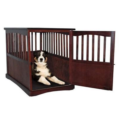Indoor Wooden Dog Pet Crate End Table Furniture Espresso Family Room Small