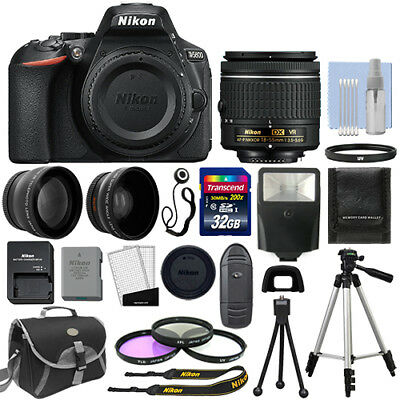 Купить Nikon D5600 - Nikon D5600 Digital SLR Camera Black + 3 Lens: 18-55mm VR Lens + 32GB Bundle