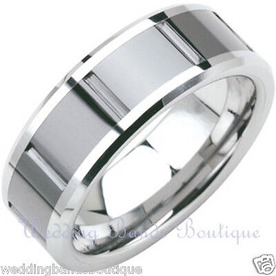 10k White Gold Wedding Band Modern Carved Mens Satin Finish Comfort Fit Ring 6mm