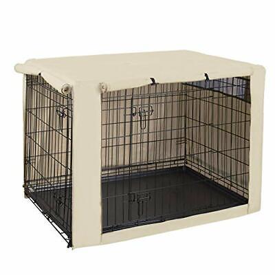 Double Door Dog Crate Cover Kennel Indoor Outdoor 48 Inches Pet Wire Cage Hug