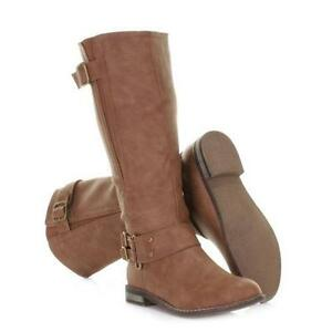 Tan Leather Flat Boots 7accc6d2af38