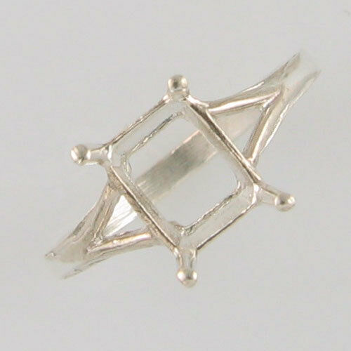PRE-NOTCHED 8X6MM EMERALD CUT SOLITAIRE RING STERLING SILVER CR5131SS