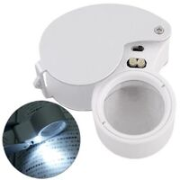 Jewelery 40X 25mm LED Loupe Magnifying Glass Magnifier