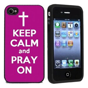 Keep-Calm-and-Pray-On-For-Apple-iPhone-4-or-4s-Case-Cover-All-Carriers-Purple