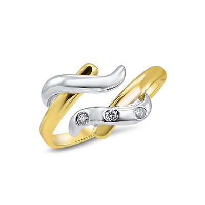 Toe Ring 14KT Solid White Gold Yellow Gold Adjustable 3 CZ gemstone