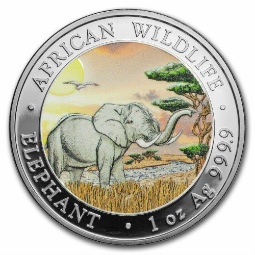 """OFFICIAL SOMALIA SILVER ELEPHANT """"DAY""""  2019 1 OZ PURE SILVER COLOR COIN CAPSULE"""
