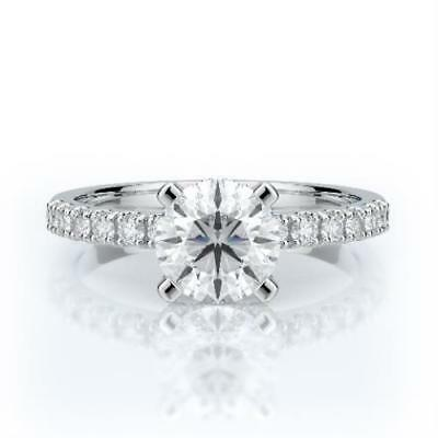 1.25 CTW REAL DIAMOND ENGAGEMENT RING IDEAL CUT ROUND SET IN 14K WHITE -