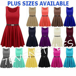 WOMENS-SLEEVELESS-FLARED-FRANKI-PLUS-SIZE-BELTED-PARTY-SKATER-TOP-DRESS-8-26