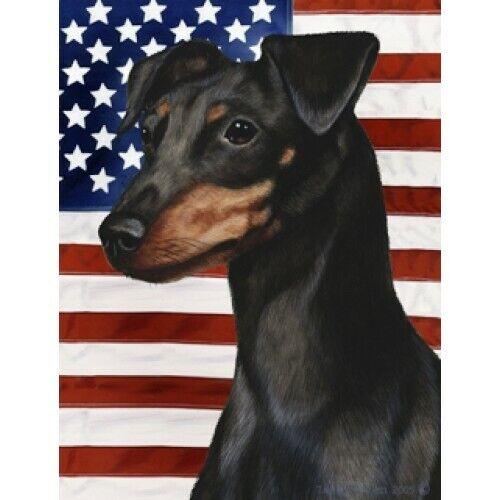 Patriotic (D2) Garden Flag - Uncropped Black and Tan Miniature Pinscher 320841