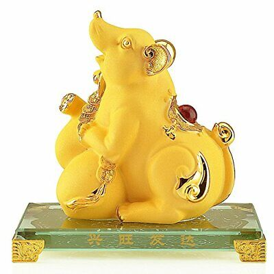 BOYULL 2020 Chinese Zodiac Rat Year Golden Resin Collectible Figurines Table ...