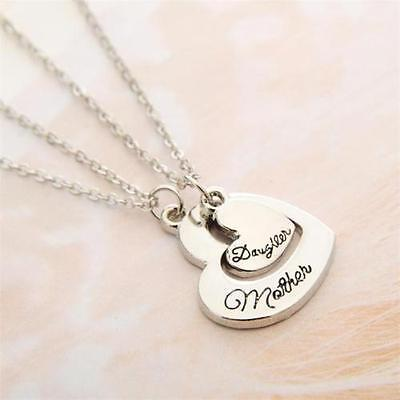 Mother Daughter Necklaces (2pcs Matching Necklace Set Mother Daughter Mom Family Hearts Love Silver)