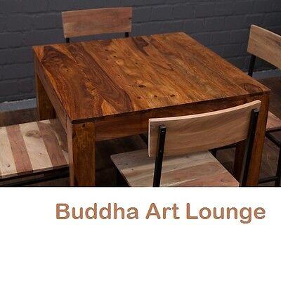 Esstisch Quadratisch Massivholz 90x90x77 Honigfarben Braun Sheesham Küchentisch
