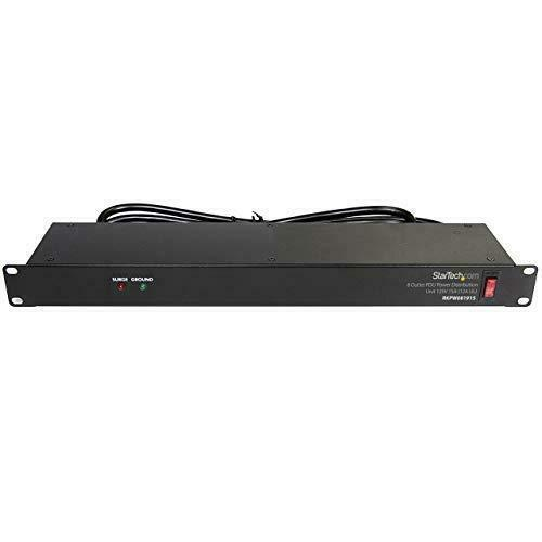 StarTech.com 8 Outlet Horizontal 1U Rack Mount PDU Power Strip for Network