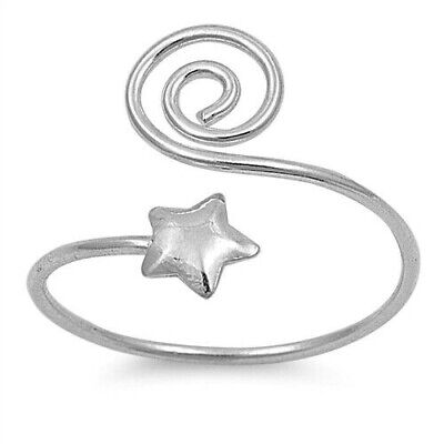 Star Toe Ring Genuine Sterling Silver 925 Jewelry Face Height 12 mm Adjustable (Adjustable Star Toe Ring)