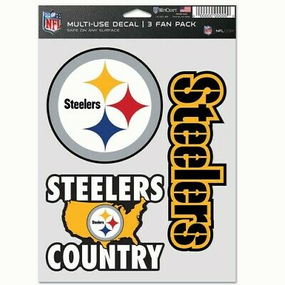 PITTSBURGH STEELERS 3 PIECE MULTI-USE DECAL FAN PACK NFL LIC