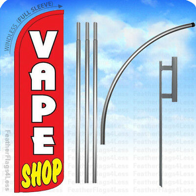 Vape Shop - Windless Swooper Flag 15 Kit Feather Banner Sign - Rz