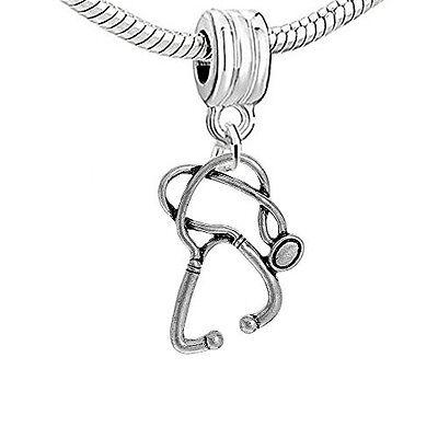 (Nurse Stethoscope Dangling Clip on Pendant Charm for Bracelet or Necklace)