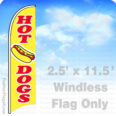 Hot Dogs - Windless Swooper Flag Feather Banner Sign 2.5x11.5 - Yb