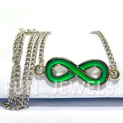 New Mood Necklace Multi Color Changing Infinity Pendant Free Color Chart & Box](Mood Necklace Color Chart)