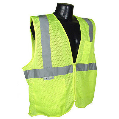 Xl Mesh Yellow High Visibility Class 2 Safety Vest With Zipper 2 Pockets